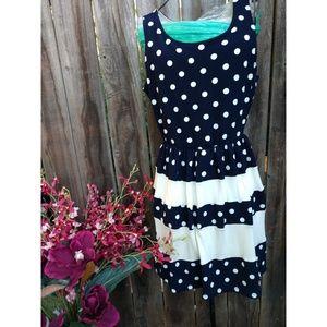 Navy polka dot dress size L